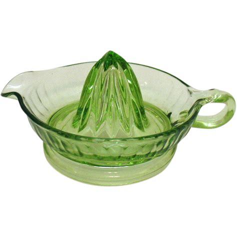 vintage green glass l vintage green glass reamer juicer by anchor hocking 1930