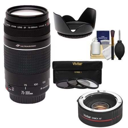 canon ef 75 300mm f/4 5.6 iii usm zoom lens with 2x
