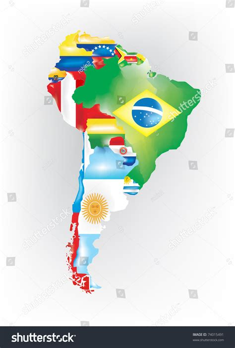 south america map with flags abstract map south america colored by stock vector