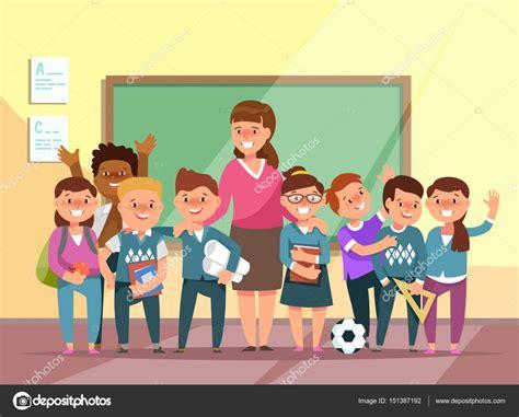 imagenes grupo escolar 벡터 일러스트 레이 션 그룹 초등학교 소년 및 소녀 만화 스타일에 교실에서 교사 교사의 날에 대 한