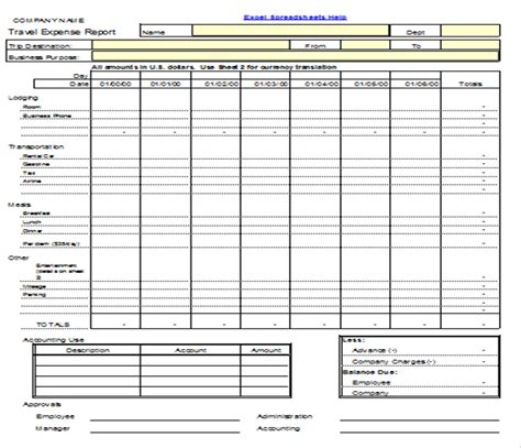 Excel Spreadsheets Help November 2012 Travel Expenses Template Free