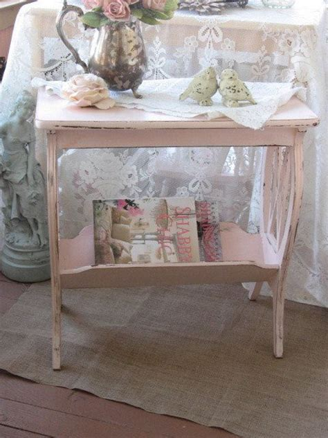 shabby chic pink table vintage lyre table magazine rack shabby cottage chic chippy