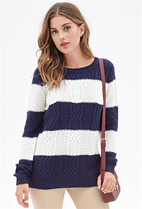 knitted sweaters forever 21 lyst forever 21 cable knit striped sweater in blue