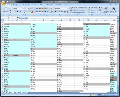 Calendar In Excel Jahreskalender F 252 R Excel