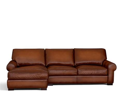 Leather Sofa With Chaise Turner Roll Arm Leather Sofa With Chaise Sectional Pottery Barn