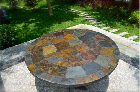 round slate dining 125 160cm round slate patio dining tiled mosaic oceane