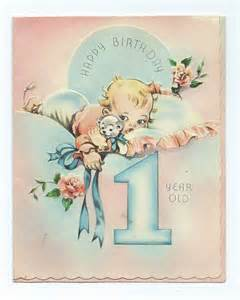 vtg pair year marchant birthday cards baby age one greeting usa no 801 vintage