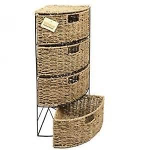 4 drawer corner storage basket unit woven seagrass boxes