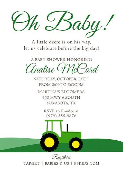Free Printable Deere Baby Shower Invitations by Deere Baby Shower Invitations Cimvitation