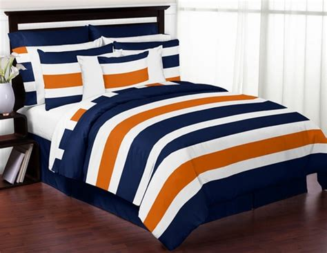 navy and orange bedding navy blue and orange stripe 4pc twin teen bedding set