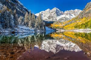 winter fall foliage maroon bells aspen colorado