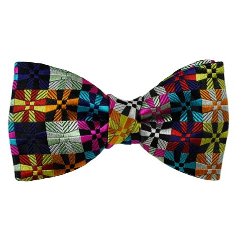 Patchwork Bow Tie - buck multi coloured patchwork patterned designer silk