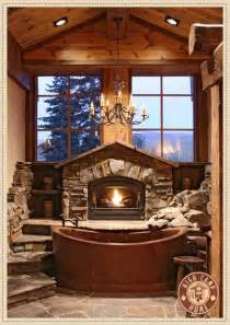 Cottages With Log Fires And Tubs by The Ultimate Rustic Bathroom Stacked Fireplace