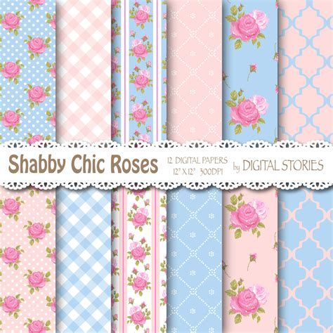 shabby chic digital paper romantic pink blue