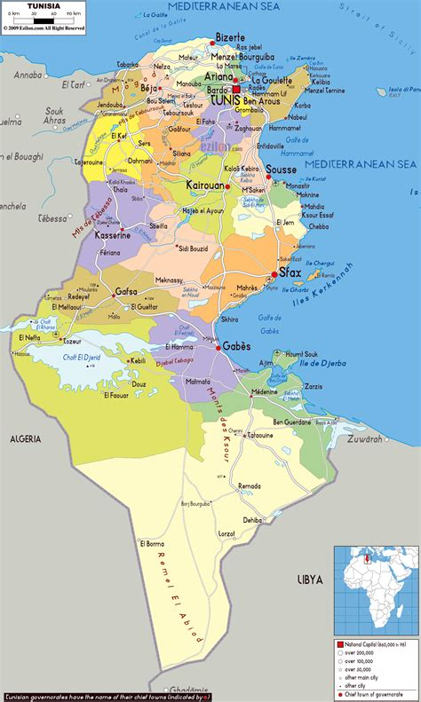 where is tunisia in the world map large detailed political and administrative map of tunisia