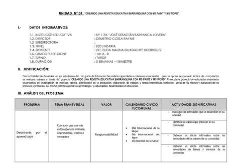 unidad indexada cotizacion del dia calam 233 o unidad didactica de educacion para el trabajo ccesa