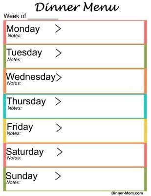 weekly dinner menu planner | printables and menu