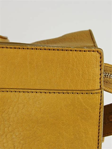 St Muctard yves laurent mustard yellow leather large cabas chyc bag yoogi s closet