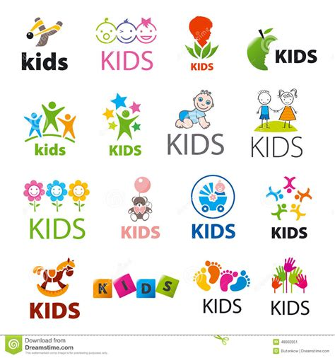 kids logo design stock illustration image of childhood collection of vector logos children stock vector image