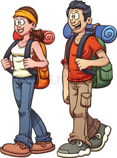 young couple walking. vector clip art illustration with