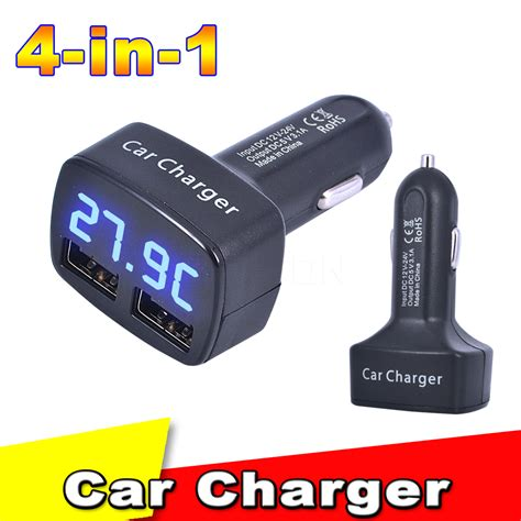 universal 4 in 1 5v 3 1a car charger dual usb ports