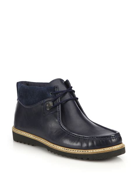 saks fifth avenue suede trimmed leather desert boots in