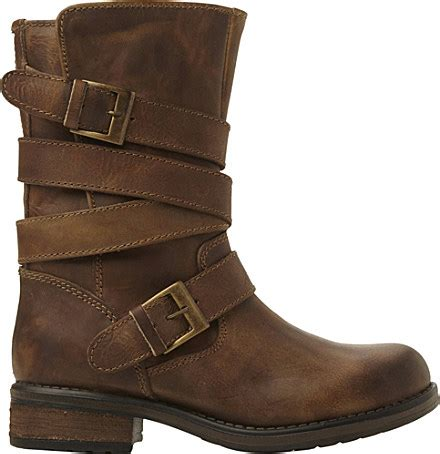 womens brown leather biker boots steve madden kindell leather biker boots for in