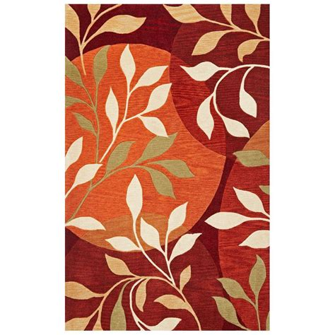 8 X 10 Ft Area Rugs Kas Rugs Modern Leaf Rust 8 Ft X 10 Ft Area Rug Bai28738x10 The Home Depot