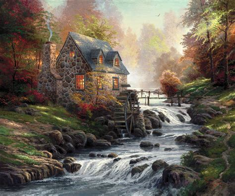 Cottage By The River Thomas Kinkade Painter Of Light Kinkade Cottage Painting