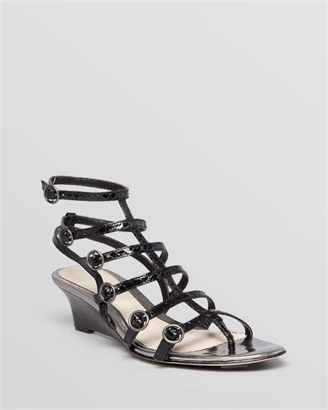 black gladiator wedge sandals elie tahari open toe gladiator wedge sandals troy in