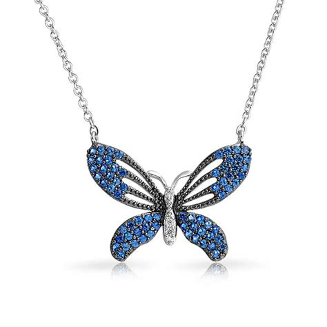 sapphire colored blue cubic zirconia 3 tone butterfly necklace