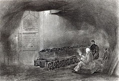 in the coal mine illustration from a school