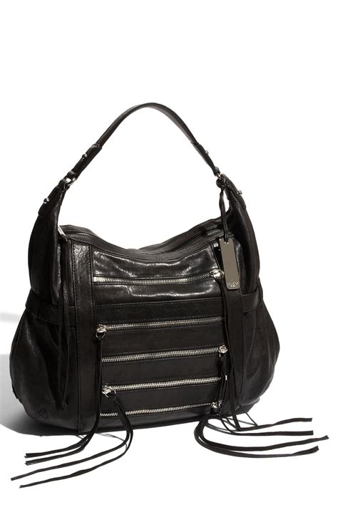 Botkier Black Ruched Hobo by Botkier Venice Exposed Zip Leather Hobo Bag In Black Lyst