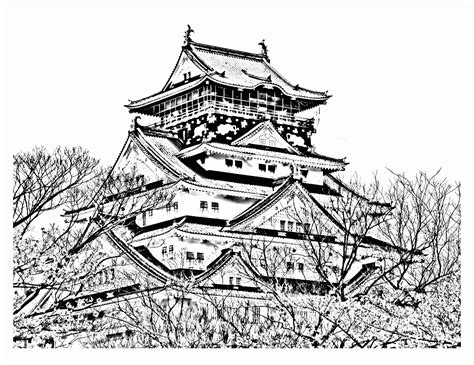 japanese castle coloring page cherry blossom coloring pages coloring home