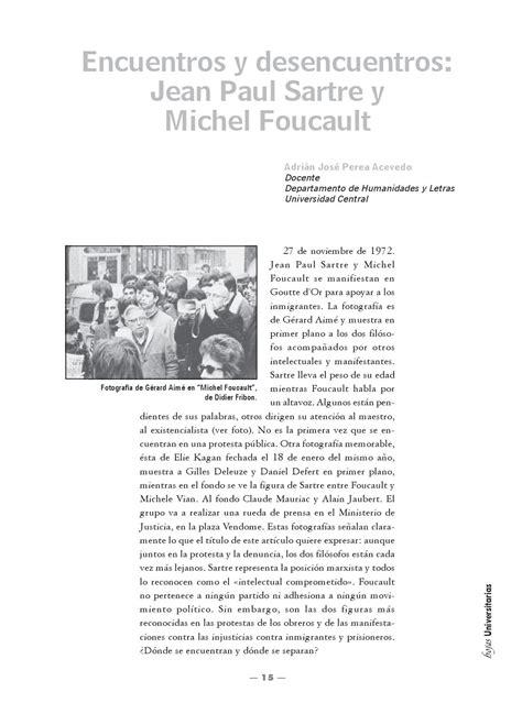 Jean Paul Sartre Se S Dan Revolusi encuentros y desencuentros jean paul sartre y michel foucault by mireyinn rodriguez issuu