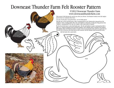 Felt Rooster Pattern | a rooster in my garden felt ornament downeast thunder farm