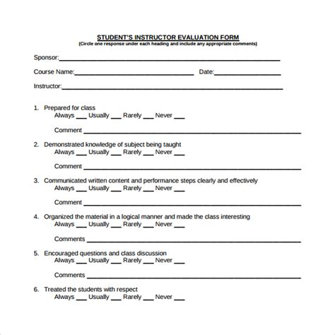 lesson feedback form template 8 sle instructor evaluation form templates sle