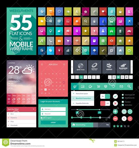 Design Elements For Apps | set of flat design icons elements widgets stock image