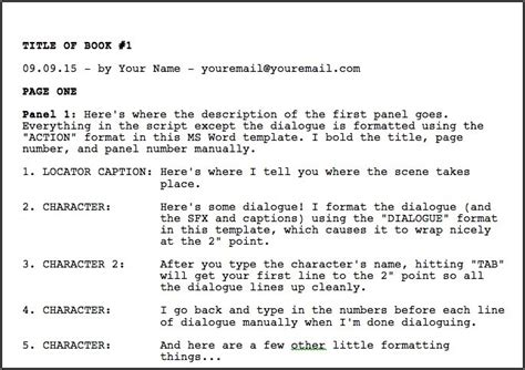 So I Completed My Comic Book Script Jeffrey L Wilson Microsoft Word Script Template