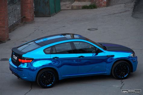 chrome blue bmw x6 m in blue chrome autoevolution