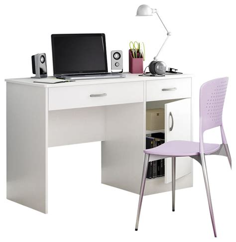 Small Laptop Desks South Shore Axess Small Computer Desk In White Transitional Desks And Hutches By Cymax