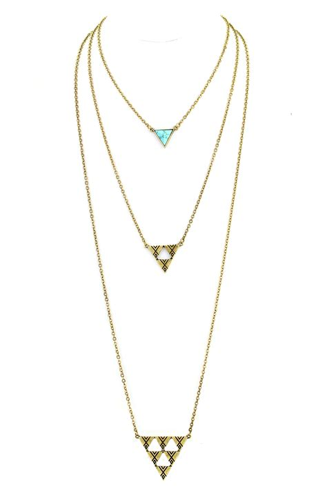 Layer Necklace three layer textured triangle necklace necklaces