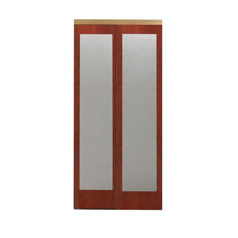 Impact Plus Closet Doors Impact Plus 48 In X 96 In Mir Mel Mirror Cherry Solid Mdf Interior Closet Sliding Door