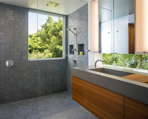 Gray Tile Master Bathroom   Contemporary   Bathroom   San