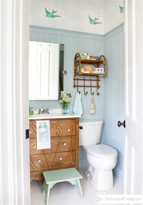 Bathroom Mirror Frame Ideas by Cottage Bathroom Makeover The Lettered Cottage
