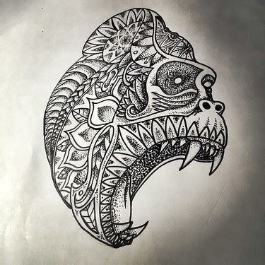 pattern head tattoo screaming gorilla head with dotwork pattern tattoo design