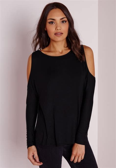 Cold Shoulder Tunic lyst missguided cold shoulder tunic top black in black