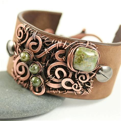 leather cuffs for jewelry leather cuff bracelet copper wire wrap and by