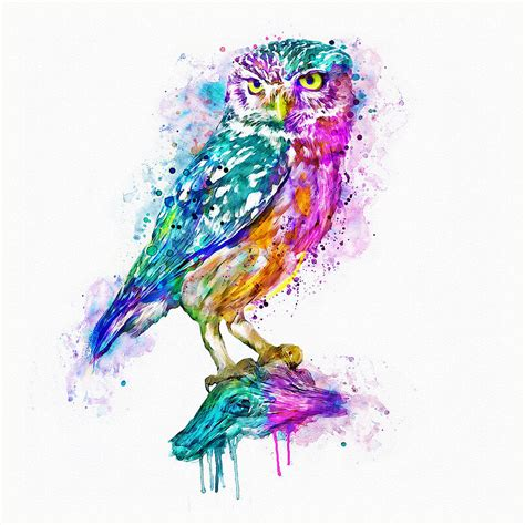 colorful owls colorful owl mixed media by marian voicu