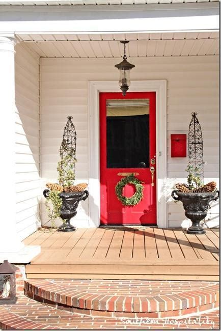front door decoration  red colors  house exterior